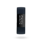 Product render of Fitbit Charge 4, front view, in Storm Blue and Black.