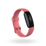 Product render of Fitbit Inspire 2, 3QTR view, in Desert Rose and Black.