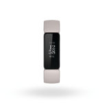 Product render of Fitbit Inspire 2, front view, in Lunar White and Black.