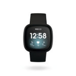 Product render of Fitbit Versa 3, front view, in Black and Black Aluminum.