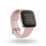 Product render of Fitbit Versa 2, 3QTR view, in Petal and Copper Rose.