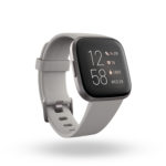 Product render of Fitbit Versa 2, 3QTR view, in Stone and Mist Grey