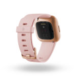 Product render of Fitbit Versa 2, back view, in Petal and Copper Rose.
