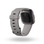 Product render of Fitbit Versa 2, back view, in Stone and Mist Grey.