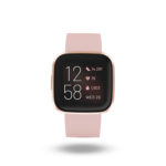 Product render of Fitbit Versa 2, front view, in Petal and Copper Rose.