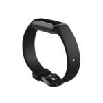 Product render of Fitbit Buzz, dramatic view, in Black and Graphite.
