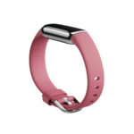 Product render of Fitbit Buzz, dramatic view, in Orchid and Platinum.